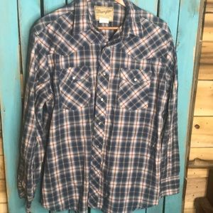 Wrangler western pearl snap red white blue XL